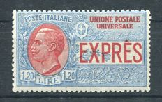 Italy, Kingdom, 1922 -- Express mail, 1.20 lire, blue and red, not issued -- Sassone #8