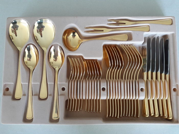 Solingen Imperial - 37-piece gold-plated cutlery set for 6 people - 23 & Solingen Imperial - 37-piece gold-plated cutlery set for 6 people ...