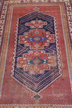 Hand-knotted original antique Kazak carpet, oriental, approx. 250 x146 cm. Russia antique