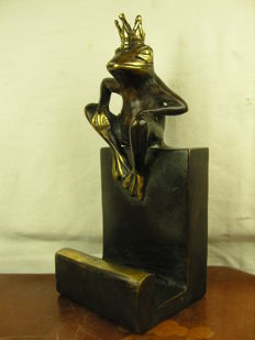 Bronze figure - curious business card stands with frog king - 20th century