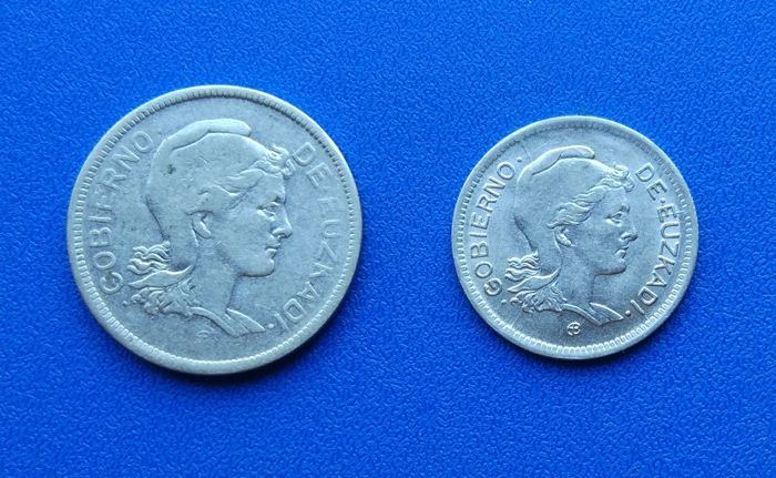 Spain - Lot of two coins of 1 and 2 pesetas - Euskadi Government - 1937 - Spanish Civil War - Belgium Mint