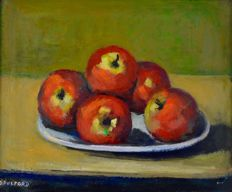 Dorothy Pulford (20th century) Still life of a plate of apples.