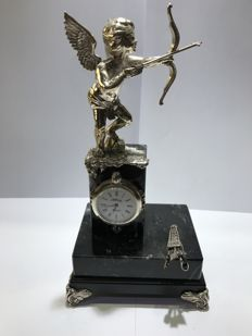 Cupid clock for table in solid silver