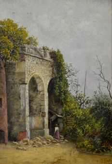 Frank Rawlings Offer. (1847-1932) A lady exploring a ruin.