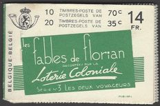 "Belgium 1936 - Stamp booklet with advertisement ""Loterie Coloniale"" (""les fables de florian"") - OBP no. A34a (III)"