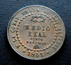 Spain - Isabel II - 1/2 real from the year 1851, Segovia Mint