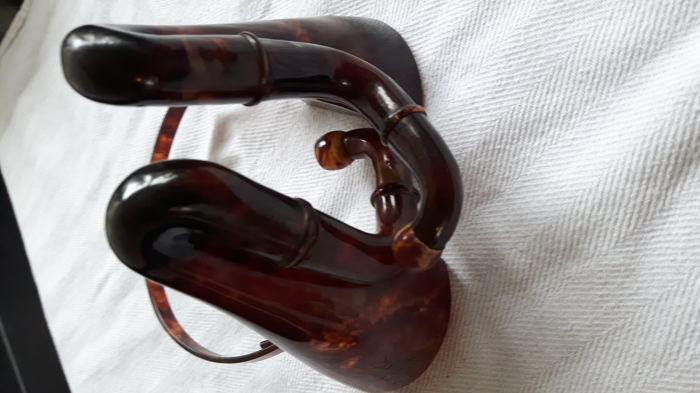 Double ear trumpet in celluloid, faux turtle, Germany, marked KWS 1924