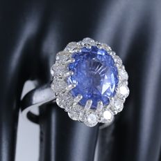 IGI Certified designer White Gold  7.80 ct. Blue Sapphire and 1.38 ct. diamond Ring