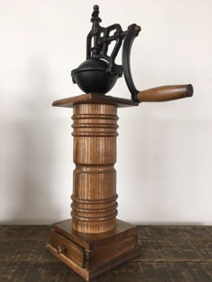 Oak and Cast Iron Industrial Coffee Grinder.