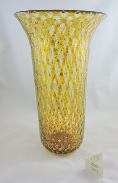 Murano - Vase with silver leaf, reticello technique (35 cm)
