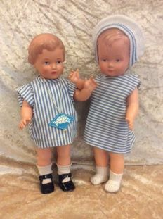 Celluloid girl and boy Germany, 1940s - 1950s