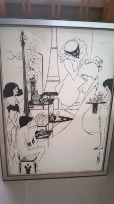 after Aubrey Beardsley (1872 - 1898) - Vintage art print the toilet of Salome
