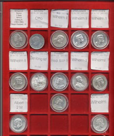 German Empire – 13 x 2 mark silver coins – from 1876 to 1913 in Lindner tray
