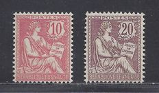 France 1902 - Type Mouchon Retouche - Yvert n° 124 and 126