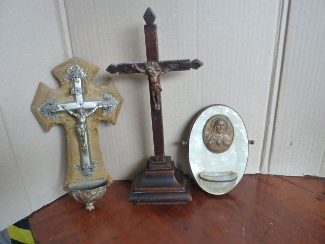 Crucifix and 2 holy water vessels France late 19th, 20th century.