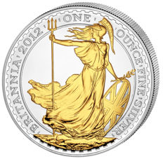 "Great Britain - 2 Pounds 2012  ""Britannia"" partially gold plated - 1 oz of silver"
