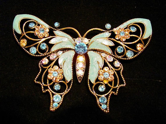 NINA RICCI for AVON - Big Victorian Butterly Brooch New York 1960s - Vintage