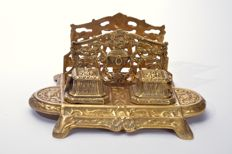 Exclusive antique large bronze inkstand, France, 1820-1850