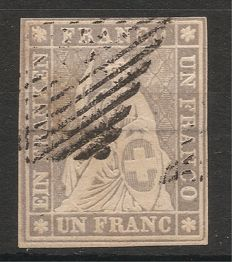 Switzerland 1855 - Helvetia sitting imperforate - Zumstein category  number 27 c.a