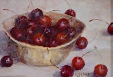 Rosia Stone (20th century) Still life of a Bowl of cherries.