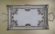 Art Nouveau tray - porcelain & chromed metal