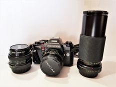 Pentax program A with Vivitar Telephoto/Wide Angle lenses and Metz flash (1990s)