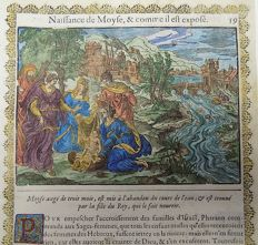 2 prints a attributed to Jean Le Clerc (1587/88-1633) - Birth of Moses & Moses Flees to Midian - 2 handcoloured woodcuts on folio leaf - 1614