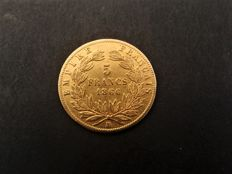 France – 5 Francs 1866-BB Strasbourg – Napoleon III – gold
