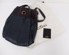 Delvaux - Pouch handbag, braided leather, blue with original mirror and storage bag