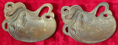 Lot of 2 modernist bronze soap dishes