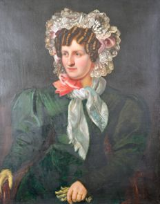North European school (mid 19th century) A portrait of a lady in a green dress.