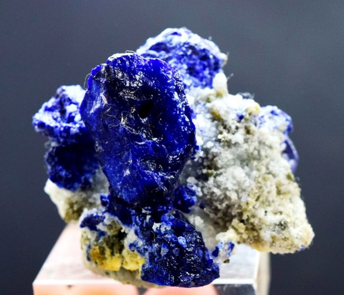 Royal Blue Lazurite Crystals with Pyrite & Calcite - 55 x 54 x 49 mm - 129 gm