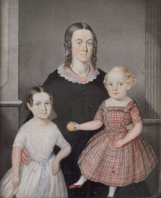 North European school (19th century) A portrait of a mother with her children.