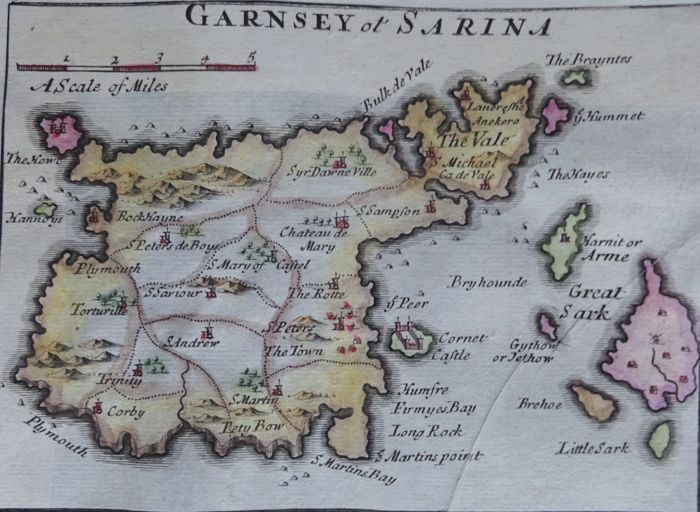 Great Britain, Channel Islands, Guernsey, Jersey; Morden / Rapkin - Garnsey or Sarina / Channel Islands - 1695 / 1855