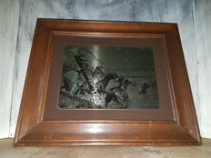 Frederic Remington – copper engraving behind glass, wild horses - USA - circa 1960