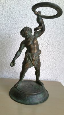 Silene / Satyr (after a remnant from Pompeii) bronze sculpture - mid 20th century
