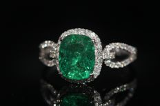 18 kt gold rings set with natural diamonds and emerald, size 54 - NO RESERVE PRICE