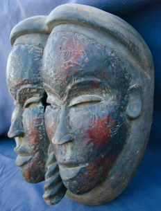 Kongo Janus mask with two faces - DRC