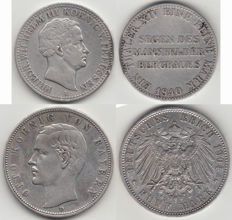 Germany/Prussia - Ausbeutetaler 1840 and Bavaria 5 Mark 1904 D - silver