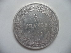 "France - 5 francs 1830 A (Paris) - Louis Philippe (variety without ""I"", raised edge) - Silver"