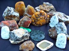 Collection of mineral stones - cut, polished and natural - 20 to 100 mm - 2040 gm