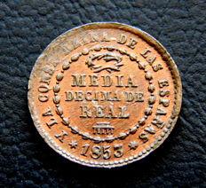 Spain - Isabel II 1/2 10th of Real year 1853 Segovia mint