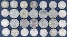 United Kingdom - 3 Pence and 6 Pence 1912/1946 George V and VI (28 pieces) - silver
