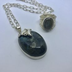 Sterling Silver Abalone Necklace Pendant Bracelet Ring Set