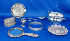 Lot of 9 heavy antique silver plated items - 1920