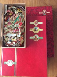 Large collection of cigar bands with three brands in 2 thick albums + box with other brands