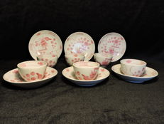 Saxon pink bowls with plates 12 piece