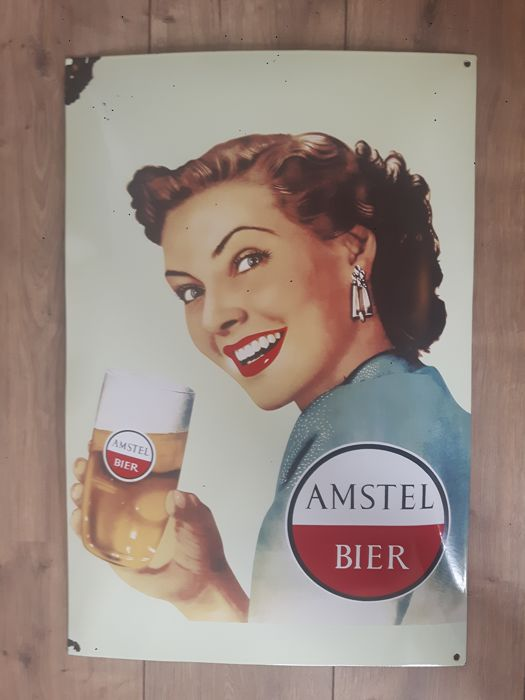 Heavy enamel Amstel beer advertising sign