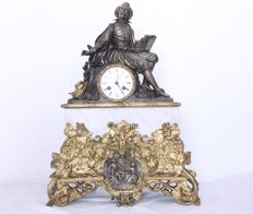 Shakespeare Mantel Clock- Bronze & Marble - Japy Freres, 1831