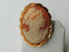 Cameo in gold and coral